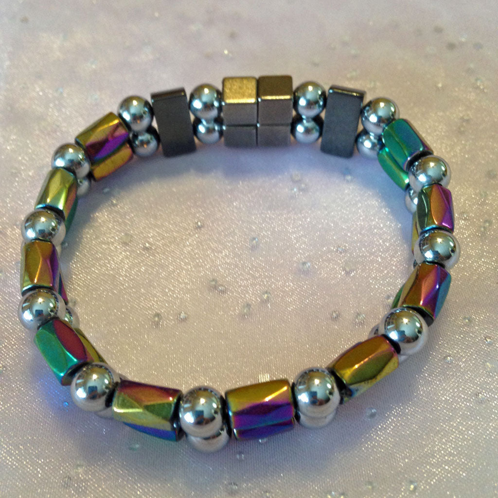 D205  Magnetic Silver Bead and Multicolor Barrel Double Strand Bracelet
