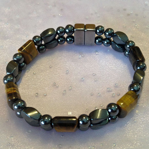 D212  Magnetic Black Bead and Black Twist with Tiger Eye Stones Double Strand Bracelet