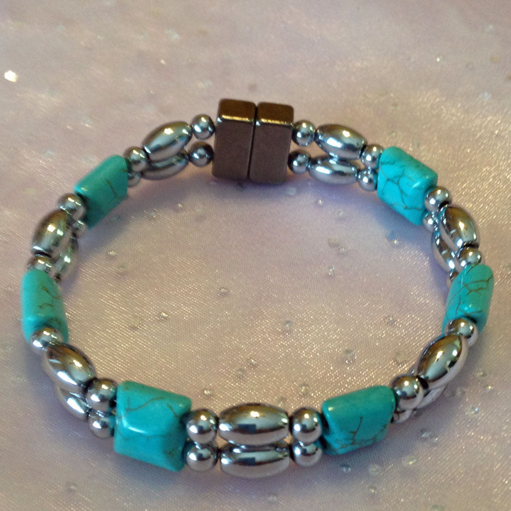 D225  Magnetic Silver Beads and Turquoise