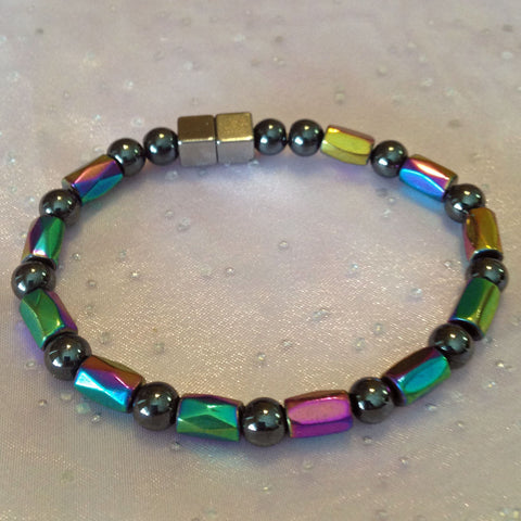 N604  Magnetic Black Bead and Multicolor Barrel Necklace