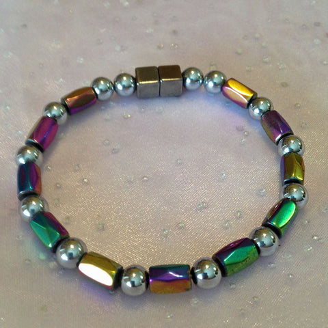 N605 Magnetic Silver Bead and Multicolor Barrel Necklace