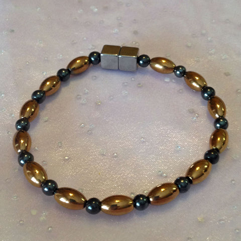 N608  Magnetic Black Bead and Copper Rice Necklace