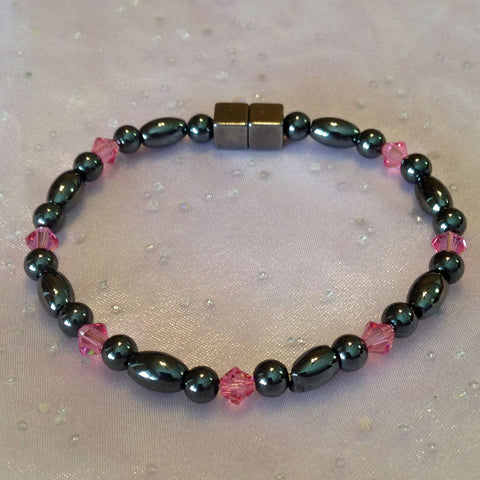 N611  Magnetic Black Bead and Black Rice with Pink Crystals Necklace