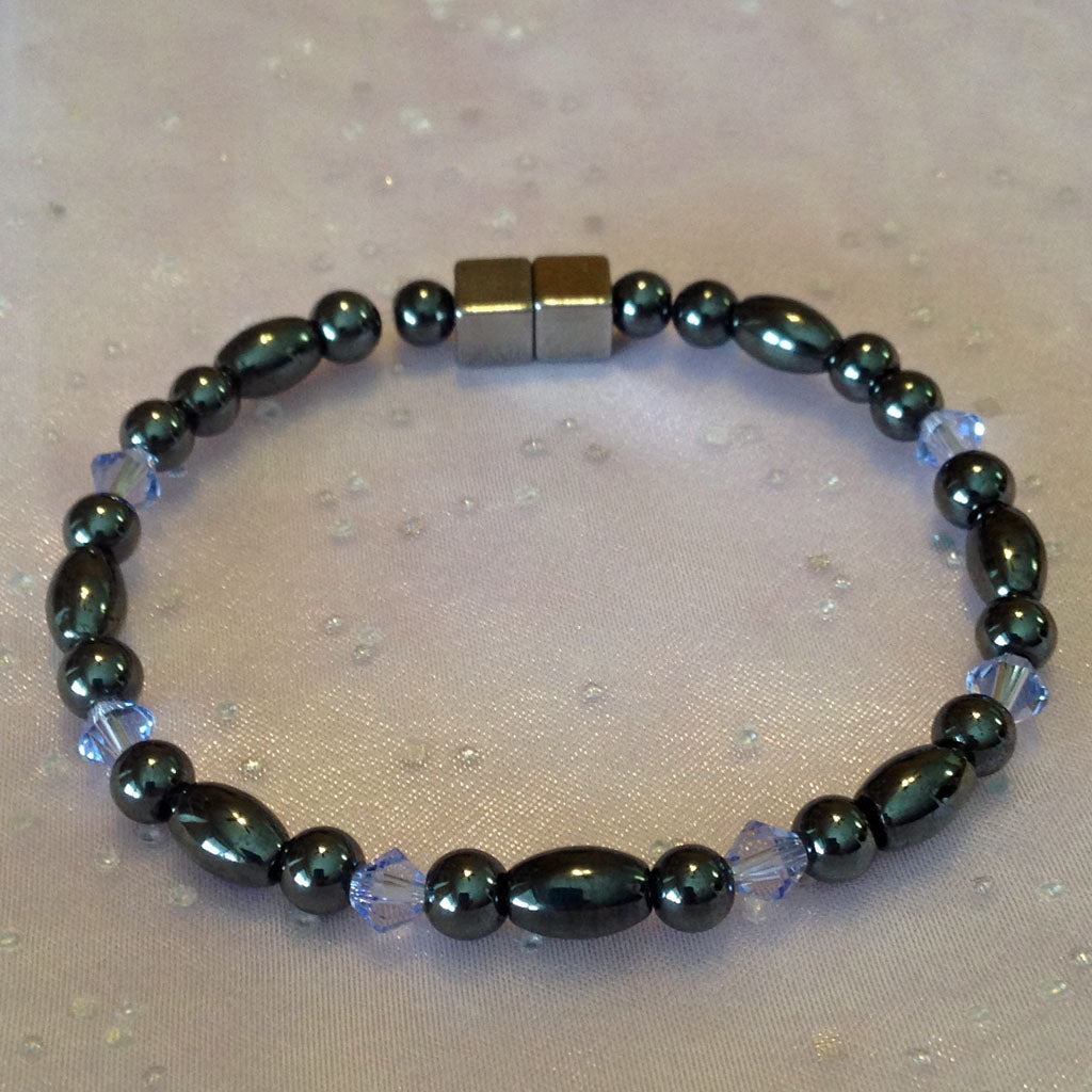 S112  Magnetic Black Bead and Black Rice with Lavender Crystals Bracelet