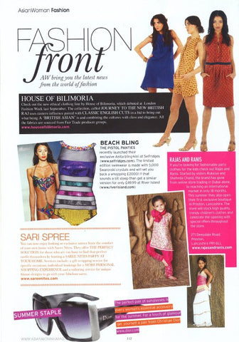 House of Bilimoria in Asian Woman Magazine