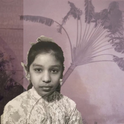 Immigrant story collage girl with travellers palm tree