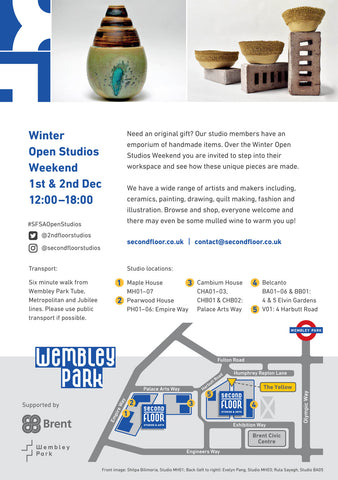 Directions to Second Floor Studios & Arts Wembley Park Winter Open Studios 1st & 2nd December 2018