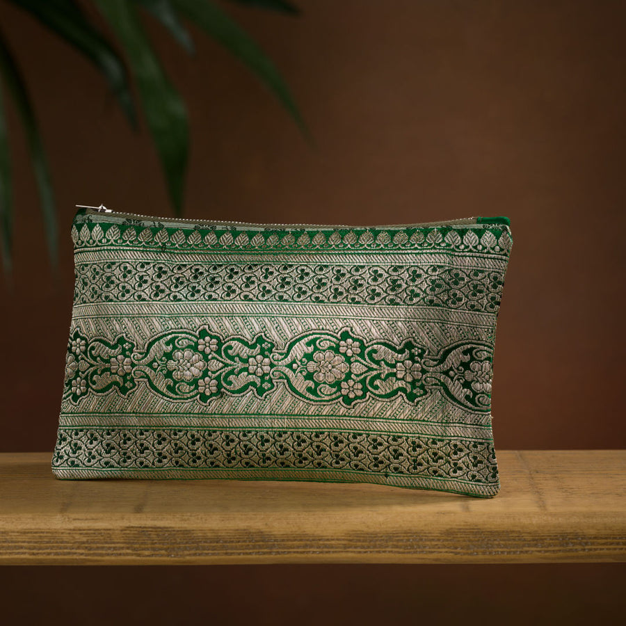 Emerald green metallic brocade clutch bag purse, sustainable gift for her, valentines gifts for her. handmade in london