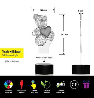 Love Bear 3D Visual Lamp