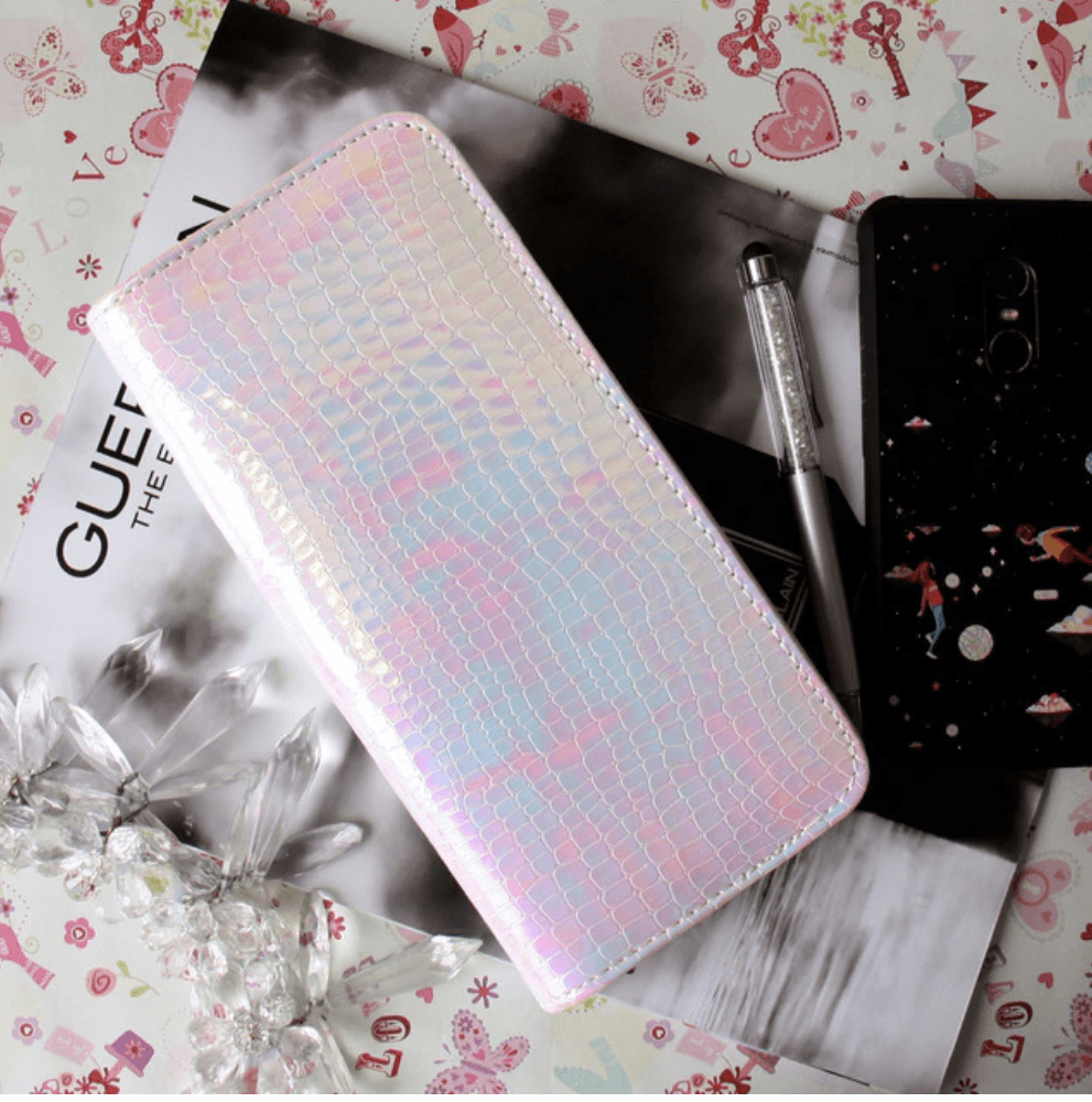Vintage Holographic Leather Wallet Clutch