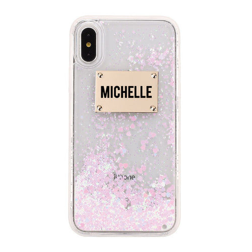 Rose Gold Glitter Custom Name iPhone Case