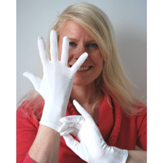 A model showing the Adult's Bamboo Gloves for Eczema available from Allergy Best Buys