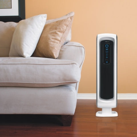 A lifestyle image of the Aeramax DX5 Air Purifier with 4-stage technology with a True HEPA filter from Allergy Best Buys