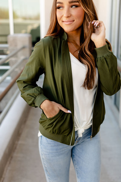 Essential Bomber Jacket- Olive