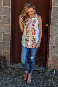Ready For Summer Embroidered Tank