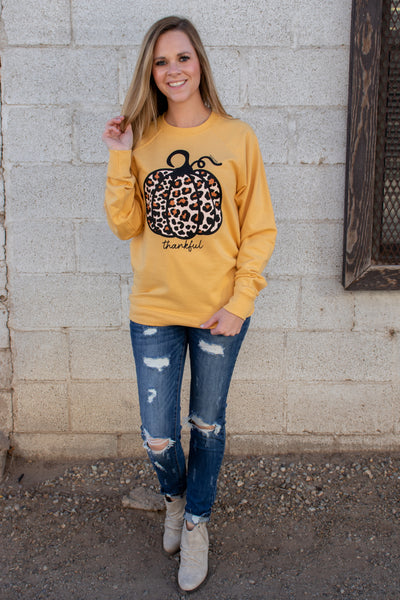 Thankful Leopard Pumpkin Pullover