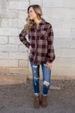 Looking For You Plaid Top- Burgundy