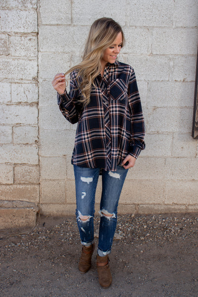 Looking For You Plaid Top- Teal/Rust