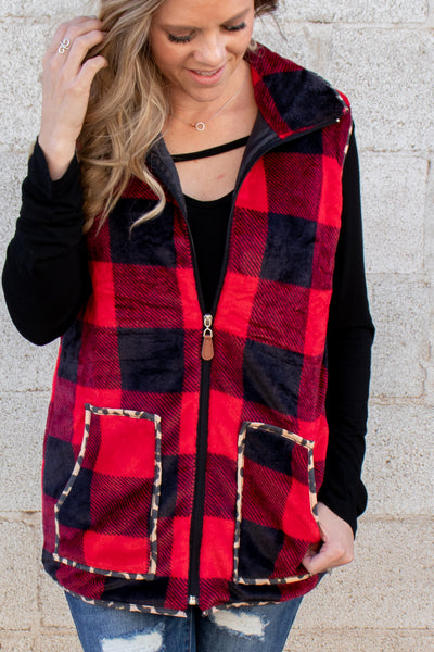 Red Buffalo Plaid & Leopard Vest ADULT