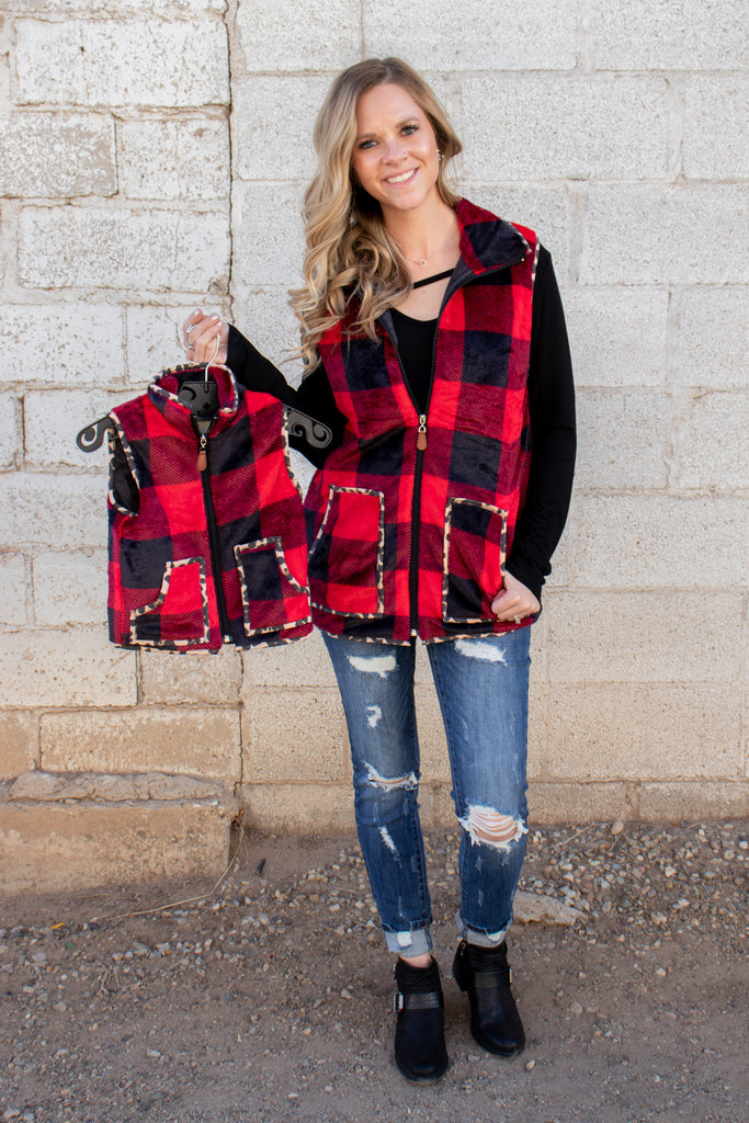 Red Buffalo Plaid & Leopard Vest- KIDS