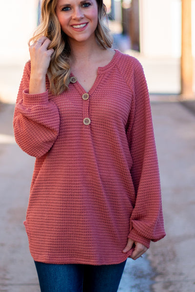 All In Favor Waffle Knit Top- Dusty Pink