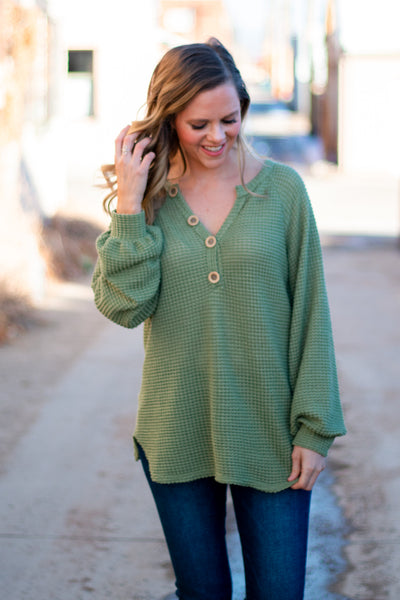 All In Favor Waffle Knit Top- Dusty Sage