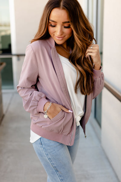 Essential Bomber Jacket- Mauve