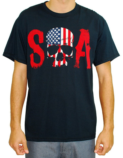 "Sons of Anarchy ""Skull Logo and American Flag"" Shirt"