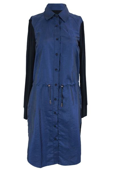 Blue Jersey/Nylon Shirt Dress