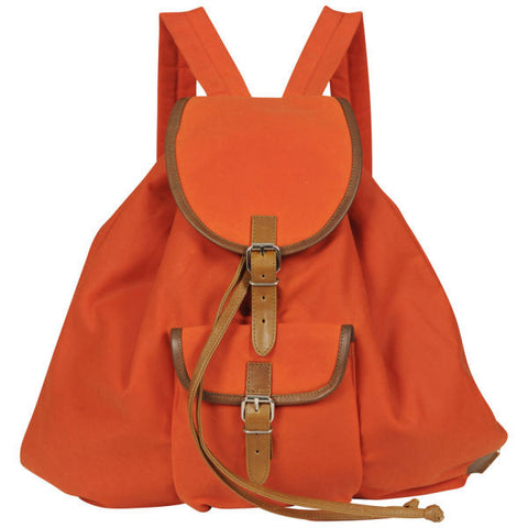 Poppy/Tan Waxed Cotton Rucksack