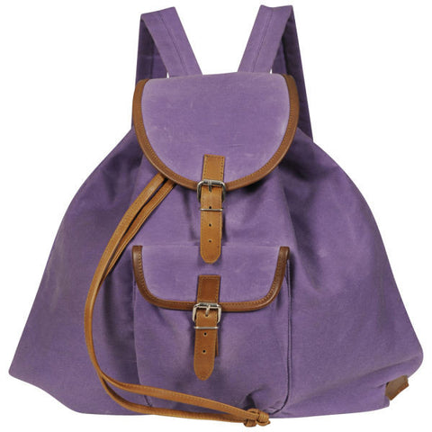 Lilac/Tan Waxed Cotton Rucksack
