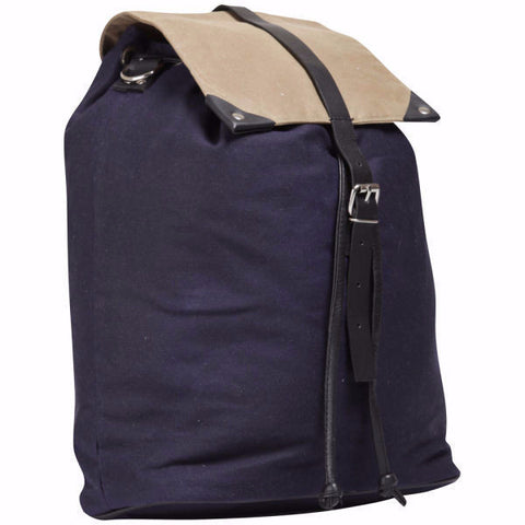 Sand & Navy Waxed Cotton Multi Rucksack