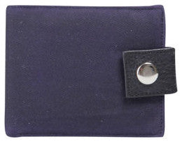 Navy Waxed Cotton Popper Wallet