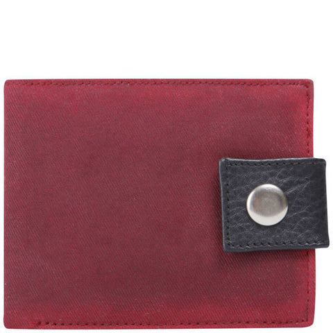 Plum Waxed Cotton Popper Wallet