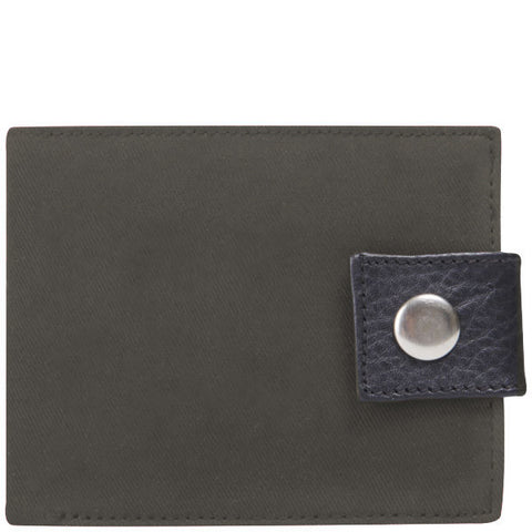 Grey Waxed Cotton Popper Wallet
