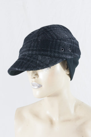 Grey Check Wool Check Cap