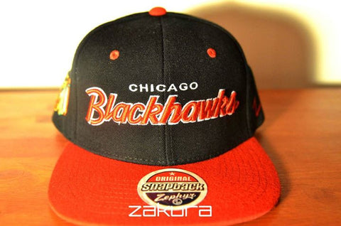 Chicago BlackHawks, SCRIPT, Black/Red, NHL, Snapback