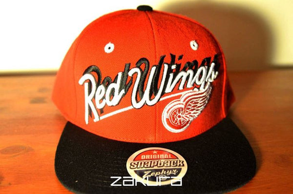 Detroit Red Wings, SCRIPT, Red/Black, NHL, Snapback