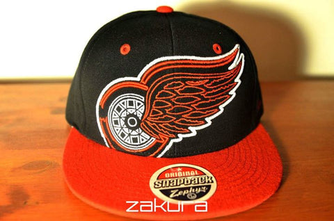 Detroit Red Wings, LOGO, Black/Red. NHL, Snapback