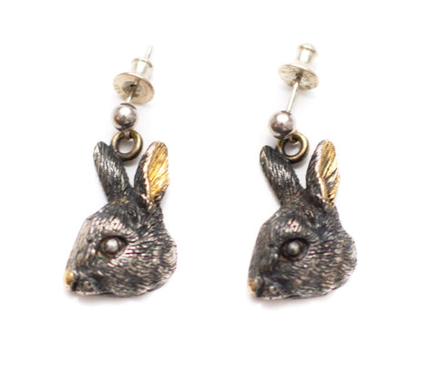 Rabbit Head Silver Earrings