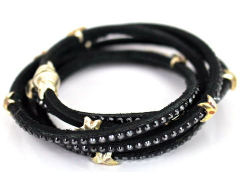 Swarovski 5 Wrap Around Stars Leather Bracelet Black