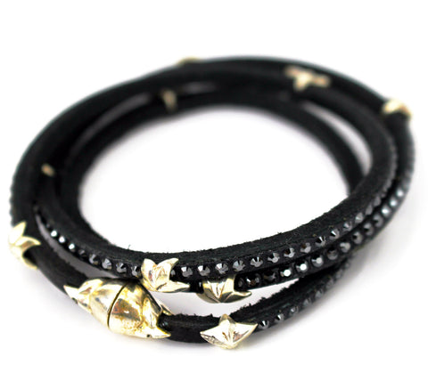 Swarovski 3 Wrap Around Stars Leather Bracelet Black