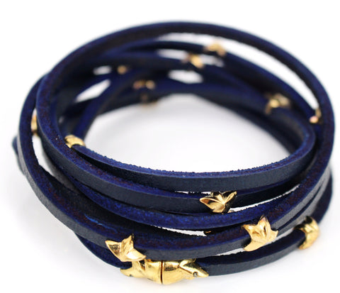 Gold 7 Wrap Around Stars Leather Bracelet Navy