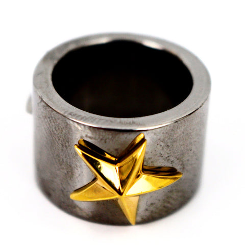 Gold Plated Star on Black Ring