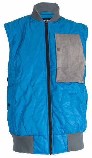 Turquoise/Grey Quilted Gilet