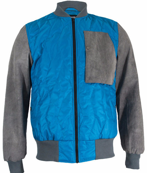 Turquoise/Grey Quilted Bomber Jacket