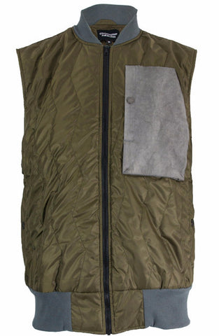 Olive/Grey Quilted Gilet