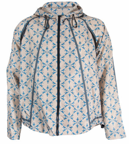Lizard Printed Sand/Turquoise Lightweight Parka Jacket