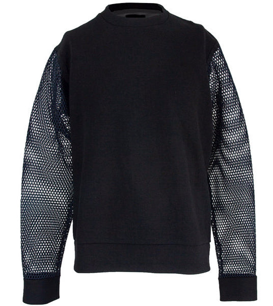 Black Mesh Sleeve Crewneck