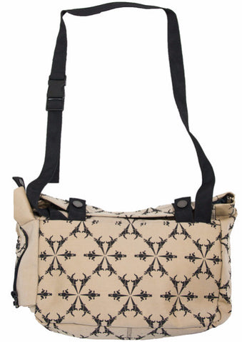 Lizard Printed Sand/Black Messenger Bag